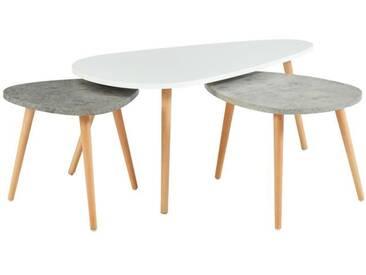 PIPPA 3 tables gigognes scandinave - Blanc / gris clair et gris foncé mat - L 100 x l 60 cm / L 60 x l 45 cm et L 45 x l 45 cm