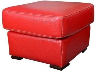 Pouf - Cuir rouge - Contemporain - L 60 x P 60 cm
