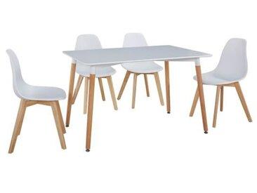 Ensemble table à manger de 4 à 6 personnes MARCO + chaises scandinaves SACHA - Blanc mat - L 120 x l 80 cm et L 46 x P 53 cm