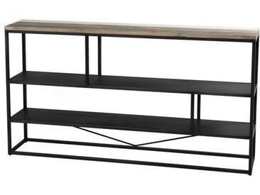 """Étagère """"S"""" scandinave en bois acacia massif naturel, noir et blanc + pieds en métal noir - L 160 cm"""