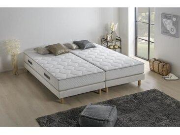 Ensemble matelas ressorts + 2 sommiers tapissier - 160 x 200 - Confort équilibré - Epaisseur 23 cm - Galon gris - FINLANDEK Hyvyys