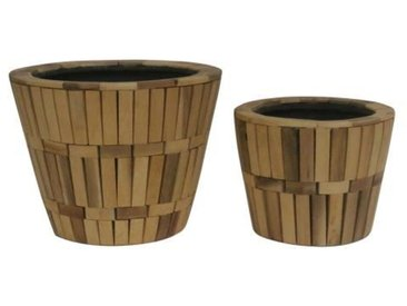 Set de 2 cache-pots - Revêtement en bois - Ø 19 x H 14 cm / Ø 24 x H 19 cm - Marron naturel