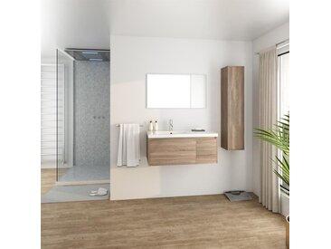 GIRONA Salle de bain complète simple vasque L 90 cm - Décor chêne sonoma