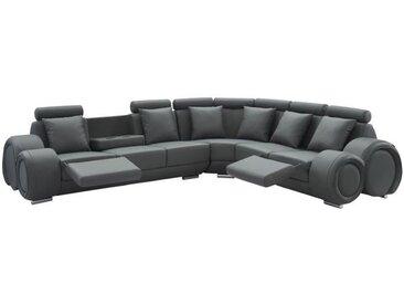 GEOFFREY Canapé de relaxation d'angle panoramique 7 places - Simili gris anthracite - Contemporain - L 343 x P 136 cm