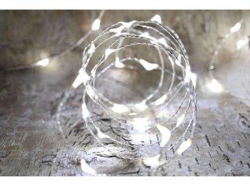 Guirlande micro-LED - 4 m - Blanc pur - 80 LED - 16 fonctions mémoire - Câble argent transparent