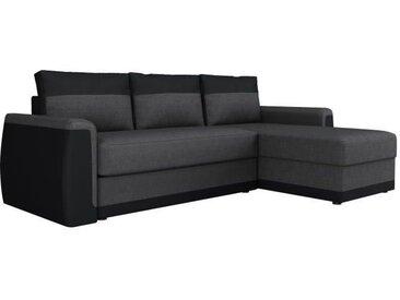 JAMES Canapé d'angle convertible 3 places + Coffre de rangement - Simili noir et tissu gris anthracite - L 230 x P 142 cm