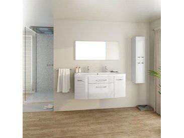 PACOME Salle de bain complète simple vasque L 120 cm - Blanc laqué brillant
