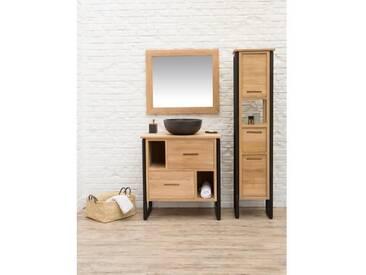LOFT Ensemble salle de bain en bois et placage teck massif simple vasque + pieds en métal - L 80 cm - Naturel et noir