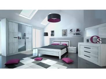 NEVA Lit adulte avec LED contemporain décor gris clair - l 180 x L 200 cm