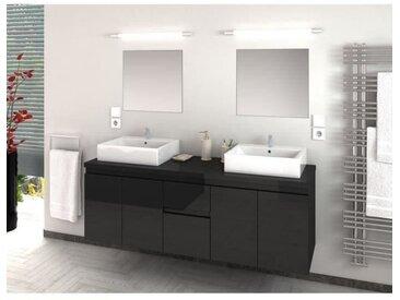 CINA Ensemble salle de bain double vasque L 150 cm - Gris laqué brillant
