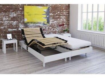 Ensemble relaxation matelas + sommiers électriques décor blanc satiné 2x80x200 - Mousse - 14 cm - Ferme - TALCA