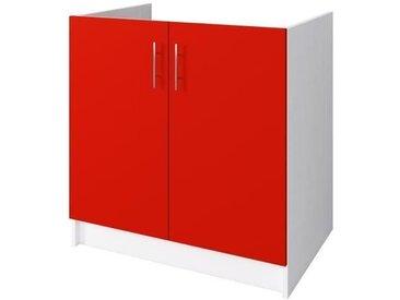 OBI Meuble sous évier L 80 cm - Rouge mat
