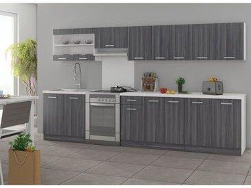 ULTRA Cuisine complète avec plan de travail L 3m20 - Décor chêne gris mat