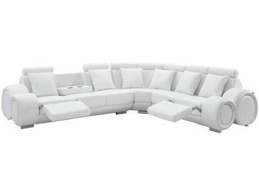 GEOFFREY Canapé de relaxation d'angle panoramique 7 places - Simili blanc - Contemporain - L 343 x P 136 cm