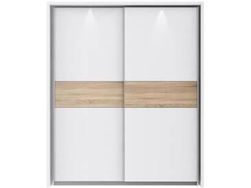 ULOS PLUS Armoire de chambre avec LED style contemporain blanc mat et décor sonoma - L 181 cm