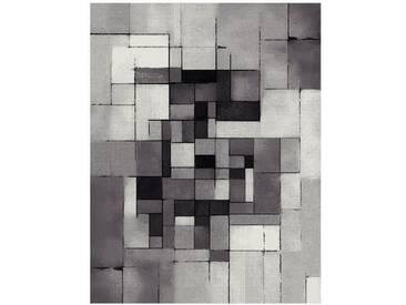 BELIS Tapis de salon contemporain 160x230 cm - Gris, Blanc et Noir