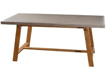 MONACO Table à manger 6 à 8 personnes style contemporain en chêne massif et béton huilé - 180x90 cm