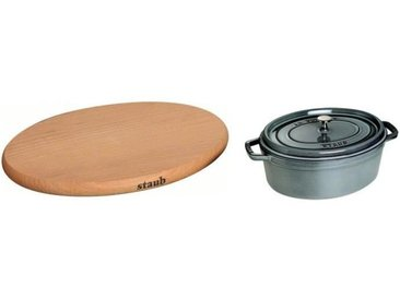 STAUB 405093690 Cocotte ovale - 37 cm - Gris graphite + 405110770 Dessous de plat aimanté - Ø 23 cm