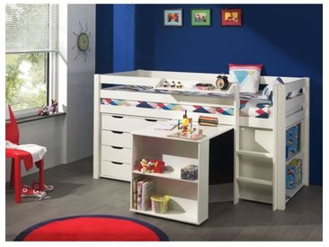 PINO Lit mezzanine 90x200 cm + bureau + bibliothèque + commode - Blanc