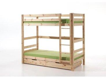 PINO Lit superposé 180cm + 2 tiroirs - 90x200 cm - Bois nature