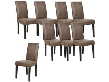 ALBUS Lot de 8 chaises de salle à manger vintage marron