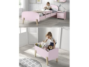 KIDDY Chambre enfant complète style scandinave en bois pin massif et MDF laqué vieux rose - l 90 x L 200 cm