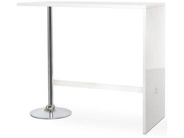 PARTY Table bar de 4 à 6 personnes style contemporain blanc brillant - L 120 x l 60 cm