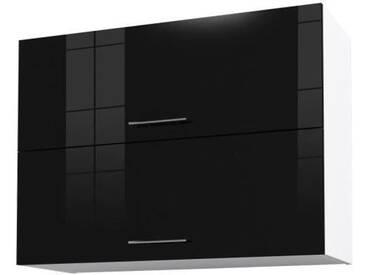 OBI Caisson haut de cuisine avec 2 portes L 80 cm - Blanc et noir laqué brillant