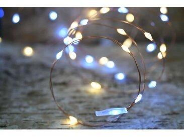 Guirlande micro-LED - 7,5 m - Blanc chaud et pur - 75 LED - 16 fonctions mémoire - Câble transparent cuivré