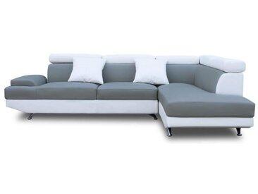 SCOOP Canapé d'angle droit 4 places - Simili gris et blanc - Contemporain - L 259 x P 182 cm