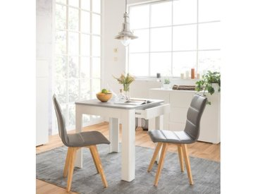 OSLO Table à manger carrée de 2 à 4 personnes style contemporain effet béton et blanc - L 80 x l 80 cm