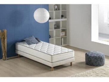 Ensemble matelas ressorts et mousse + sommier tapissier 90 x 190 - Confort équilibré - Epaisseur 25 cm - FINLANDEK Arkuus