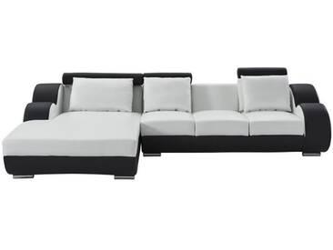 DAMIEN Canapé de relaxation dangle gauche fixe 6 places - Simili blanc et noir - Contemporain - L 188 x P 160 cm