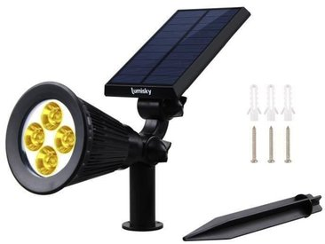 LUMI JARDIN Projecteur Spot lumineux solaire à LED Spiky - Lumière blanc chaud - 34 cm