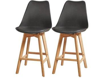 BJORN Lot de 2 tabourets de comptoir pieds en bois hêtre massif - Revêtement simili noir - Scandinave - Assise H 65cm