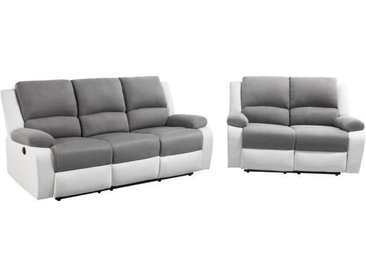 RELAX Ensemble de canapé relax 3 + 2 places électrique -Simili blanc et Microfibre grise