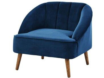 PAULINE Fauteuil - Velours bleu - Scandinave - L 83 x P 72 cm