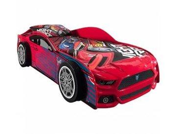 PANTHER Lit enfant voiture + sommier contemporain laqué rouge - l 90 x L 200 cm
