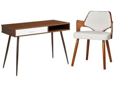 Ensemble Bureau FIFTIES décor noyer pieds en métal + chaise de salle à manger KIRUNA en bois bambou blanc