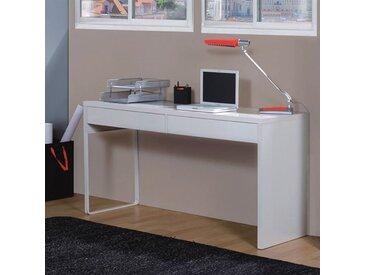 TOUCH Bureau informatique contemporain blanc brillant - L 138 cm