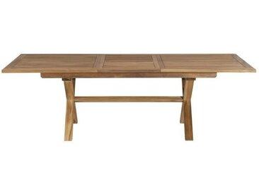 Table rectangulaire en teck pieds croisés - extensible - 180 / 240 x 100 cm JARDITECK