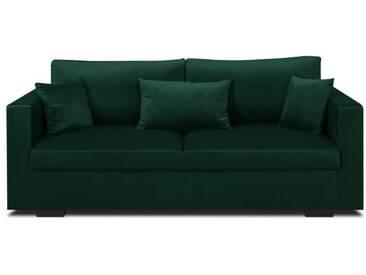 MALMA Canapé droit fixe 3 places - Velours vert forêt - Classique - L 192 x P 100 cm