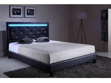 FILIP Lit adulte contemporain simili noir - Sommier et tête de lit avec LED inclus - l 140 x L 190 cm