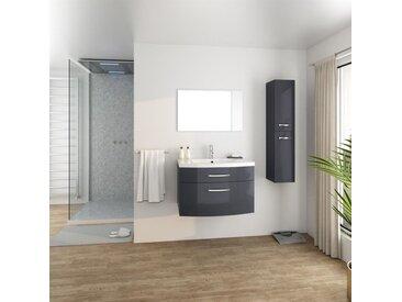 PACOME Salle de bain complète simple vasque L 80 cm - Gris laqué brillant