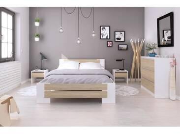 MAO Chambre adulte complète - Contemporain - Blanc mat et décor chêne sonoma - l 140 x L 190 cm