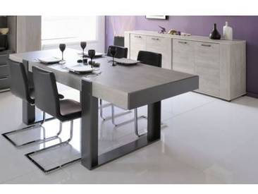 LOFT Ensemble table à manger + buffet contemporain - Décor bois naturel