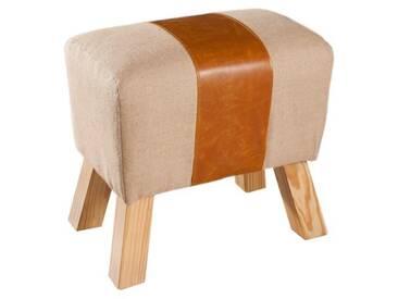 PRAGUES Tabouret cheval darçon en polyuréthane et jute beige - Classique - L 49 x P 32 cm
