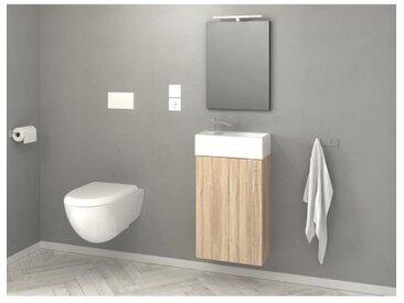KIM Meuble lave-main L 40 cm simple vasque incluse - Décor oak sonoma