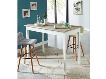 BERGERAC Table bar de 6 à 8 personnes classique placage paulownia + pieds blanc - L 150 x l 75 cm