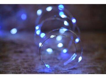 Guirlande micro-LED - 7,5 m - Bleu et pur - 75 LED - 16 fonctions mémoire - Câble argent transparent